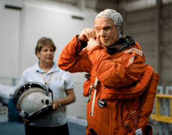 A photo of John Glenn training for the STS-95 Space Shuttle mission