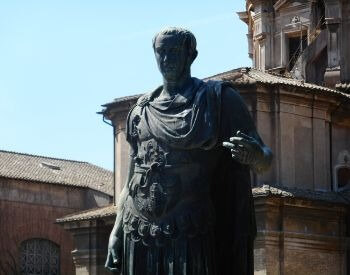 A picture of a statue of Julius Caesar in the Roman Forum