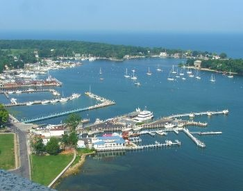 A picture of Lake Erie and a marina with boats