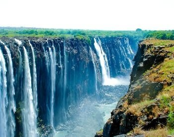 A picture looking up at Victoria Falls waterfall