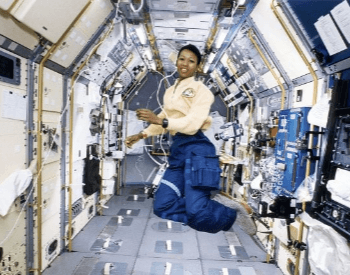 A photo of Mae Jemison aboard the Space Shuttle Endeavour during STS-47