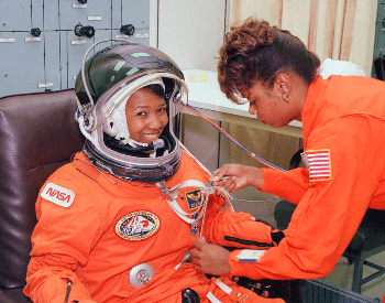 A photo of Mae Jemison sutting up for the STS-47 Space Shuttle mission