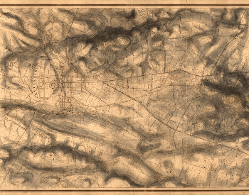 A picture of a map showing Gettysburg and the area where the Battle of Gettyburg took place