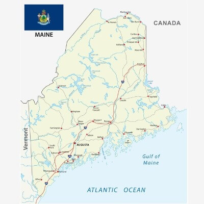 A Map of the U.S. state Maine