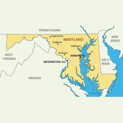 A Map of the U.S. state Maryland
