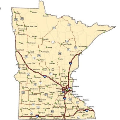 A Map of the U.S. state Minnesota