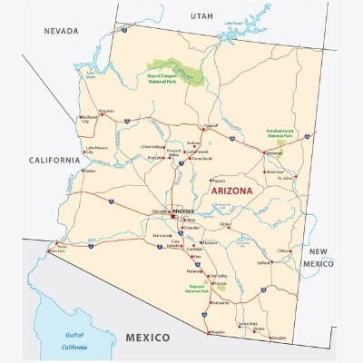 A Map of the U.S. state New Mexico