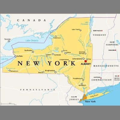 A Map of the U.S. state New York