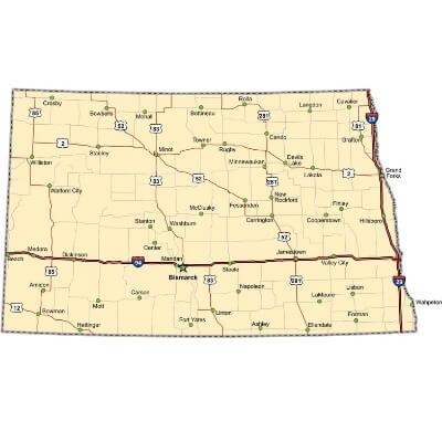 A Map of the U.S. state North Dakota