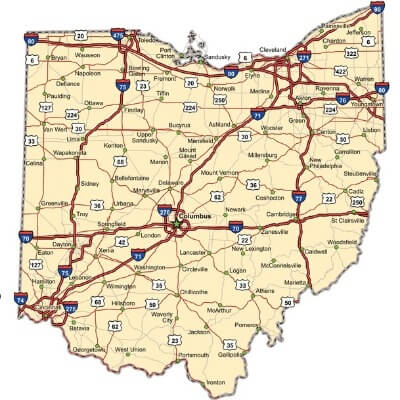 A Map of the U.S. state Ohio