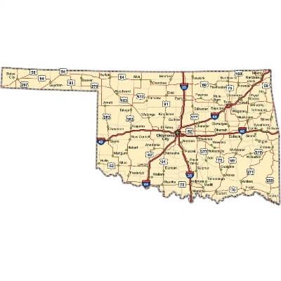 A Map of the U.S. state Oklahoma