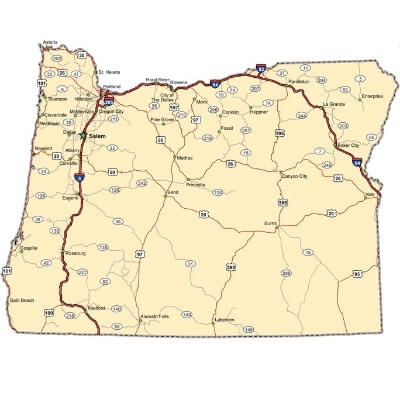 A Map of the U.S. state Oregon