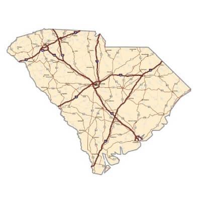 A Map of the U.S. state South Carolina