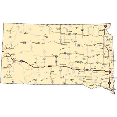 A Map of the U.S. state South Dakota