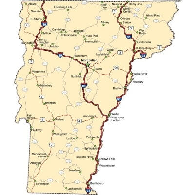 A Map of the U.S. state Vermont