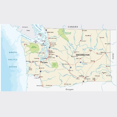 A Map of the U.S. state Washington