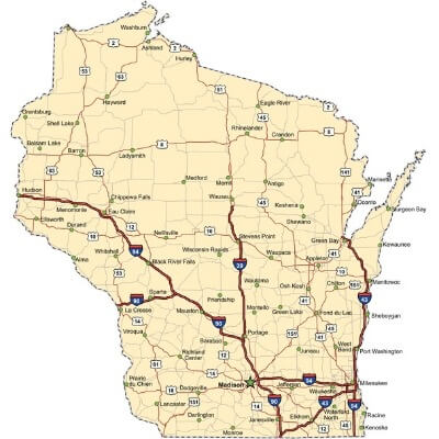 A Map of the U.S. state Wisconsin