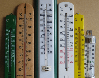 A few mercury weather thermometers