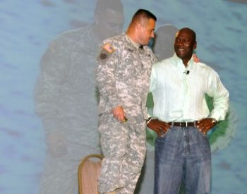 A picture of Michael Jordan with the National Guard