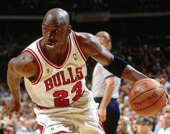A picture of Michael Jordan with the Chicago Bulls