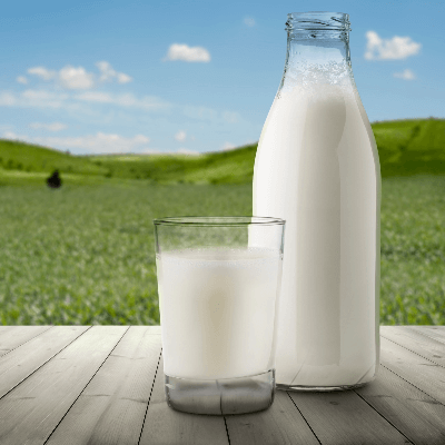 A Picture of a Bottle and Glass of Milk