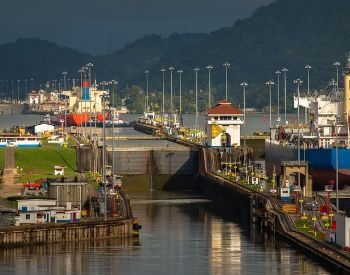 A picture of the Miraflores Locks at the Panama Canal