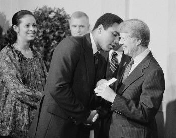 A picture of Muhammad Ali and U.S. President Jimmy Carter