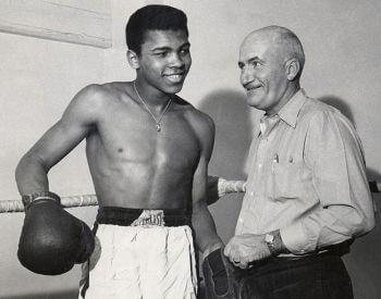A picture of Muhammad Ali and his trainer Joe E. Martin