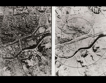 A picture of Nagasaki, showing before and after the second nuclear weapon used in war on 7/9/1945