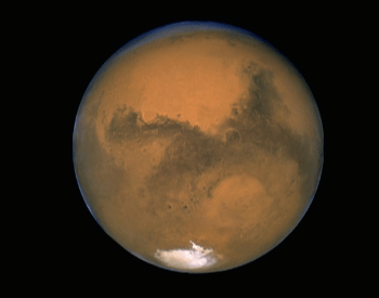 A picture of mars from the NASA Hubble Space Telescope.