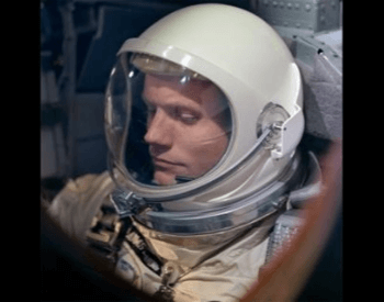 A photo of Neil Armstrong in the spacecraft used during the Gemini 8 mission