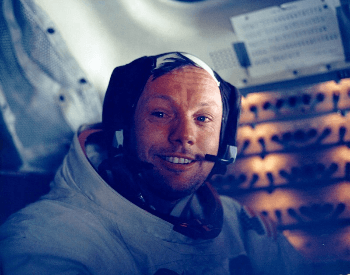 A picture of Neil Armstrong, the first man to walk on the moon
