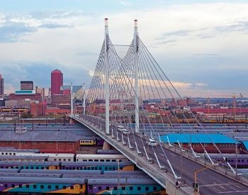 A picture of the Nelson Mandela Bridge in Johannesburg, South Africa