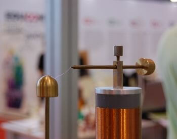A picture of a replica of the Tesla coil (electrical resonant transformer circuit)