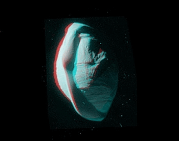 A anaglyph photo (stereoscopic) of the moon Pan