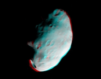 A anaglyph photo of Saturn's moon Pandora