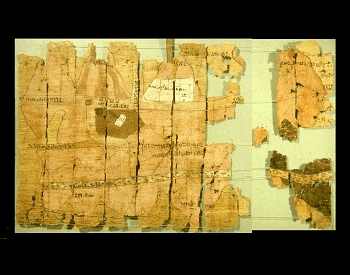 A picture of an Ancient Egypt map made from papyrus