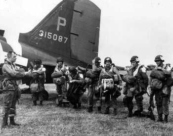 A picture of paratroopers just before heading out out to invade Normandy