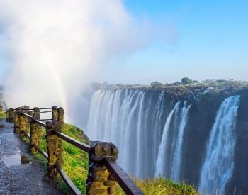 A picture of a path along Victoria Falls waterfall