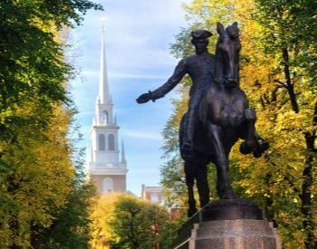 A picture of the Paul Revere statue at the Old North Church