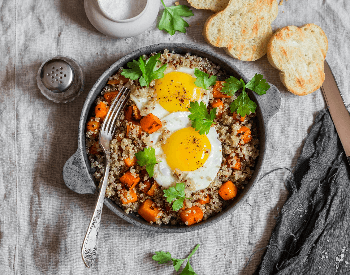 A picture of a quinoa egg bowl