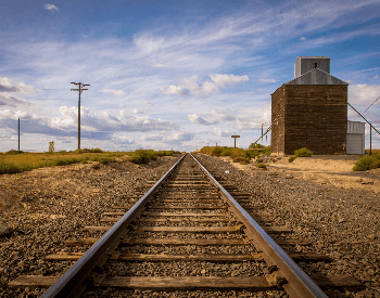 A picture of railroad tracks for trains