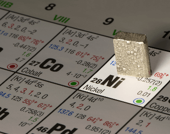 A picture of raw Nickel on a periodic table