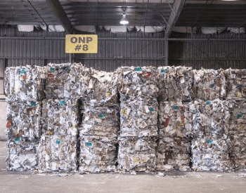 A picture of paper bales that will be recycled