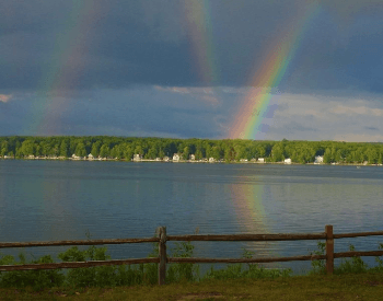 A picture of a reflected rainbow