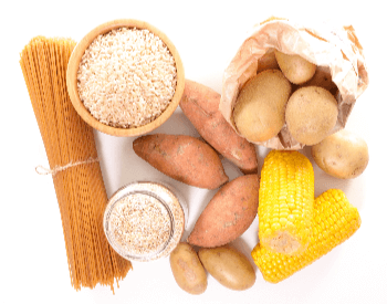 A picture of different types of foods that contain carbohydrates