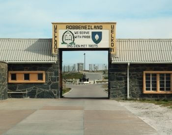 A picture of Robben Island Prison where Nelson Mandela was held for 18 years