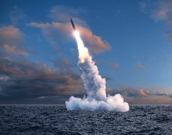A picture of a rocket fired from underwater via a submarine