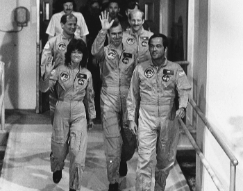 A photo of Sally Ride and the crew getting ready to board for the STS-7 Space Shuttle mission