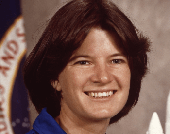 A photo of Sally Ride, the first American woman in space